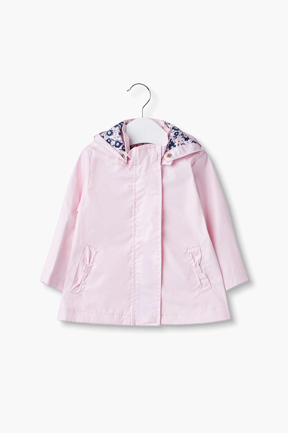 Pretty outdoor jacket with floral print accents in coated cotton