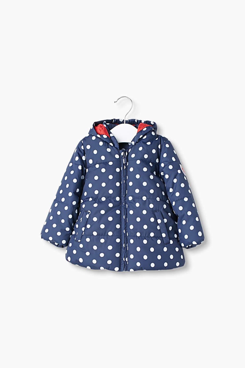 Padded jacket with a charming polka dot pattern and fixed hood