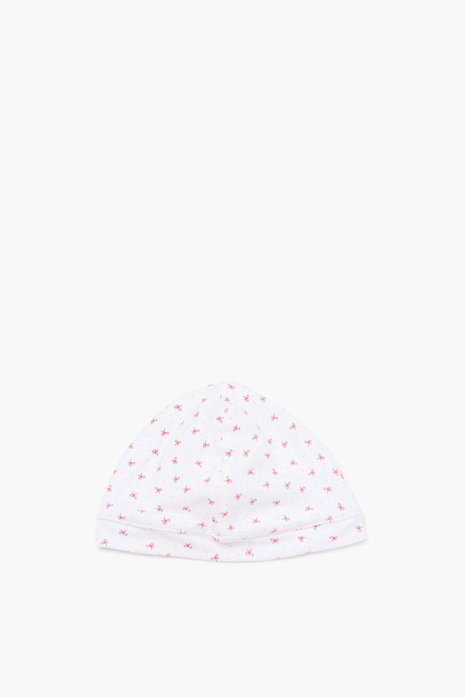 Soft hat with pretty bow pattern, organic cotton