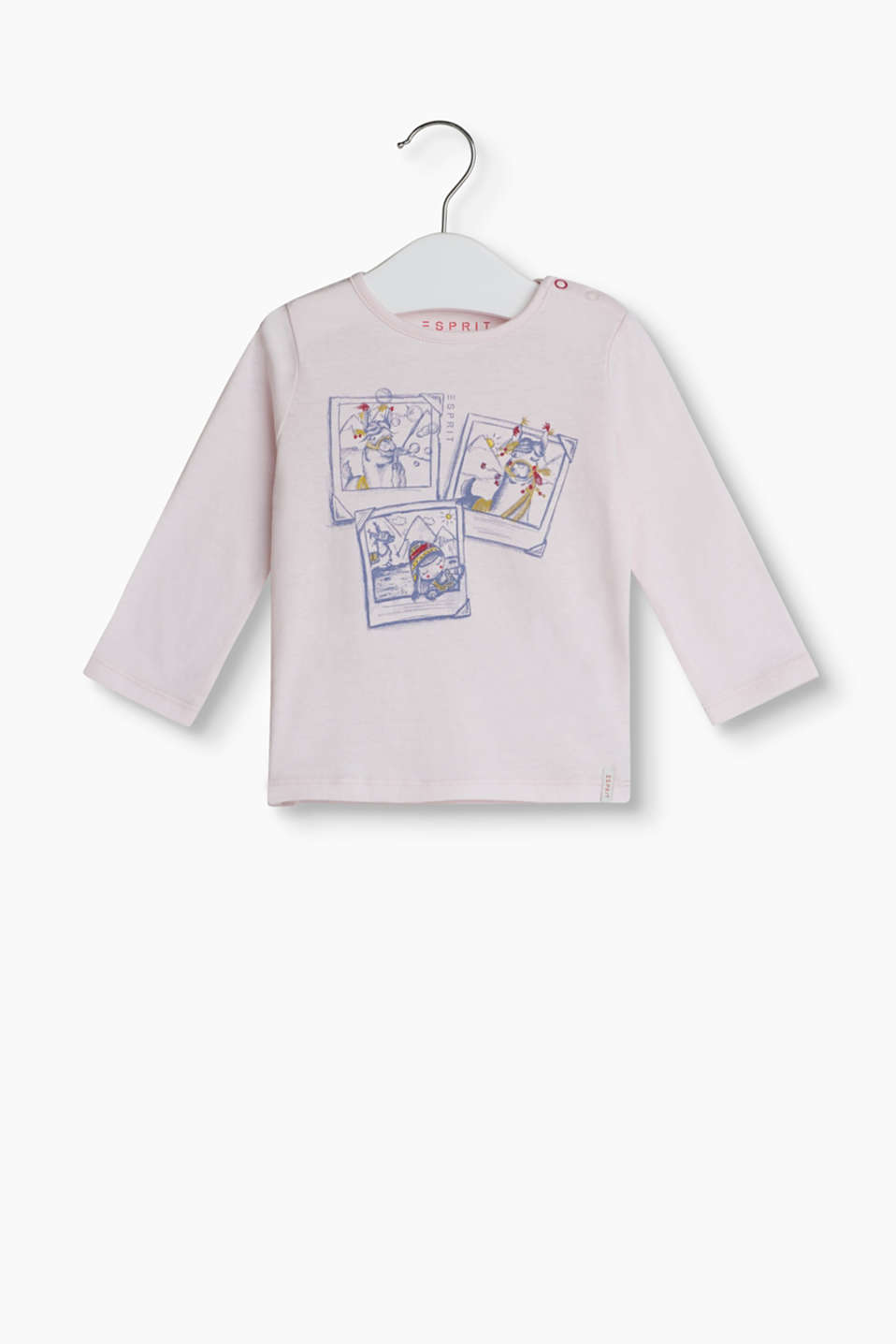 With a funny Polaroid print: long sleeve top made of soft cotton-jersey