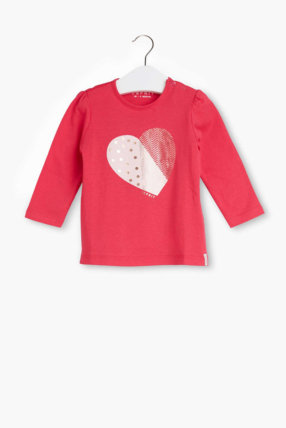 With a shiny heart print: long sleeve top in soft cotton jersey
