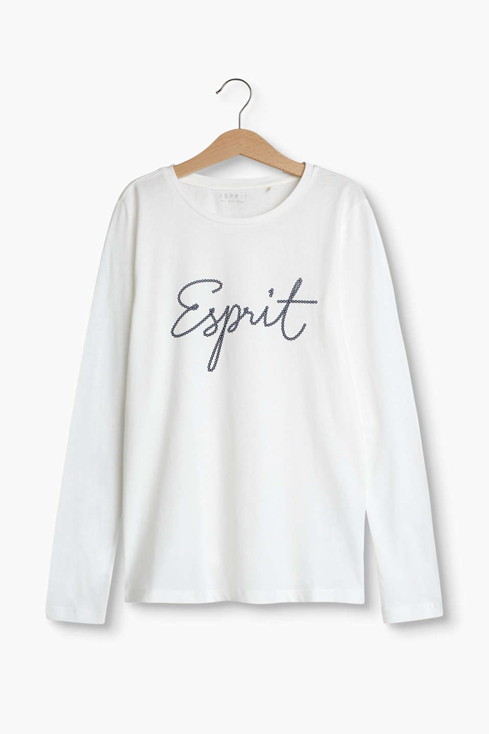 Long sleeve top in soft cotton jersey with a pretty logo signature
