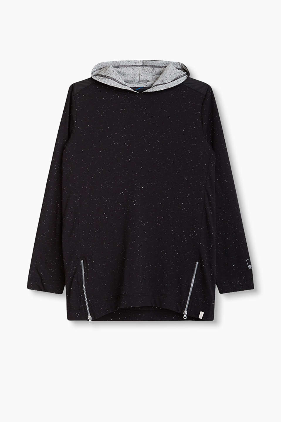 Jersey hoodie with dimples, nylon details and hem zips
