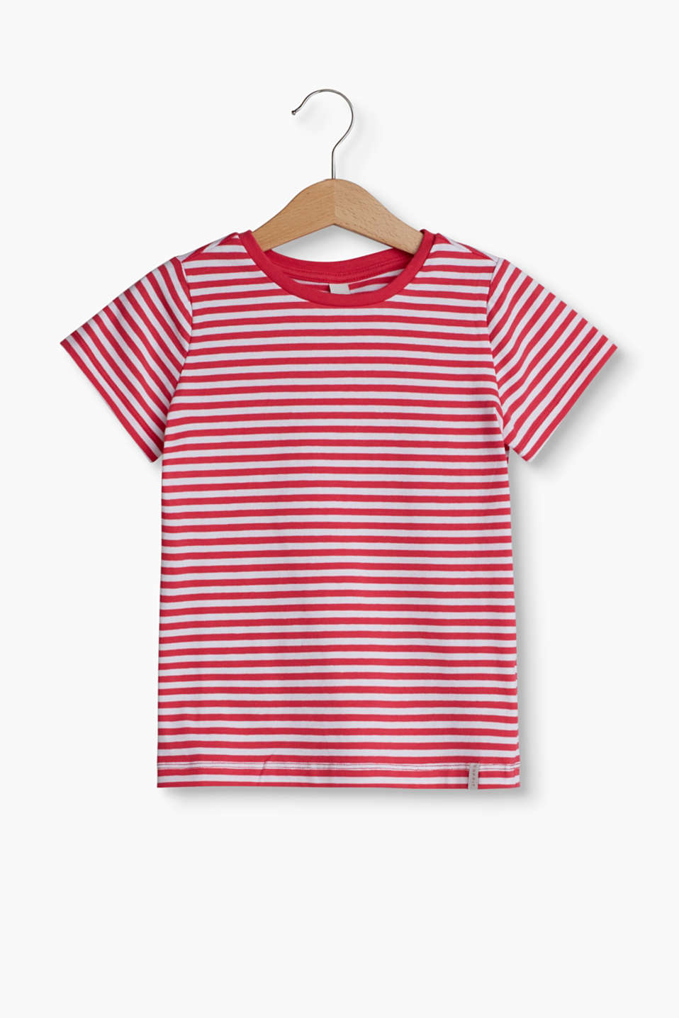 With a stripe pattern: Round neck T-shirt in soft cotton jersey with a percentage of stretch