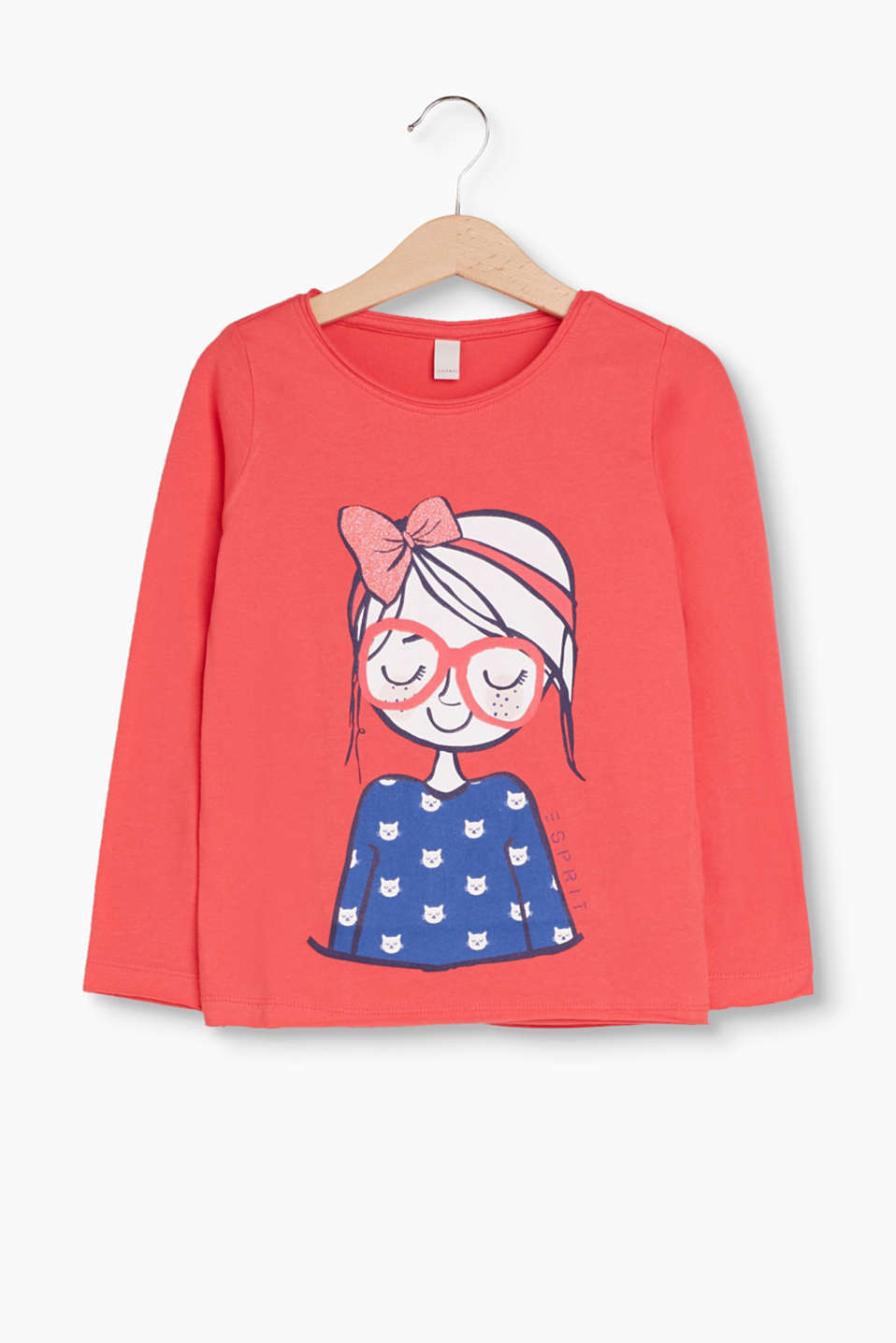 So cute! Long sleeve T-shirt with a sweet glitter print