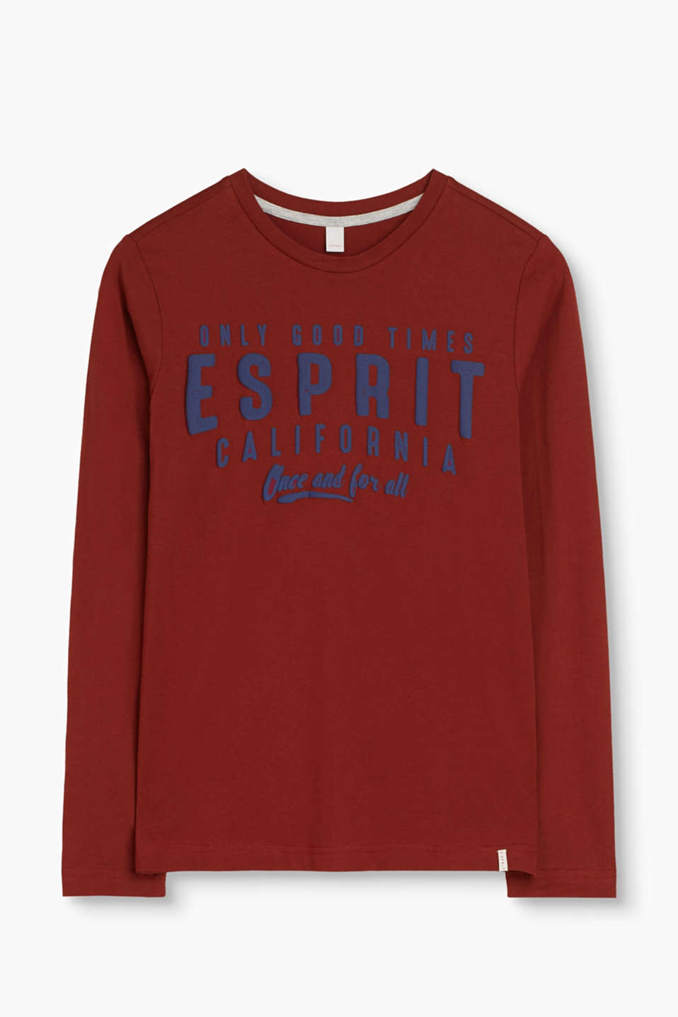 The perfect basic for lush, laid-back looks: cotton-jersey long sleeve top with a foam logo print