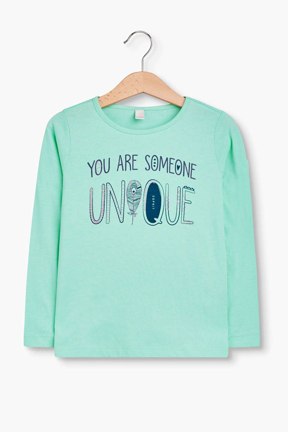 YOU ARE SOMEONE UNIQUE! Rundhals-Longsleeve aus Baumwolle mit trendy Wording-Print.