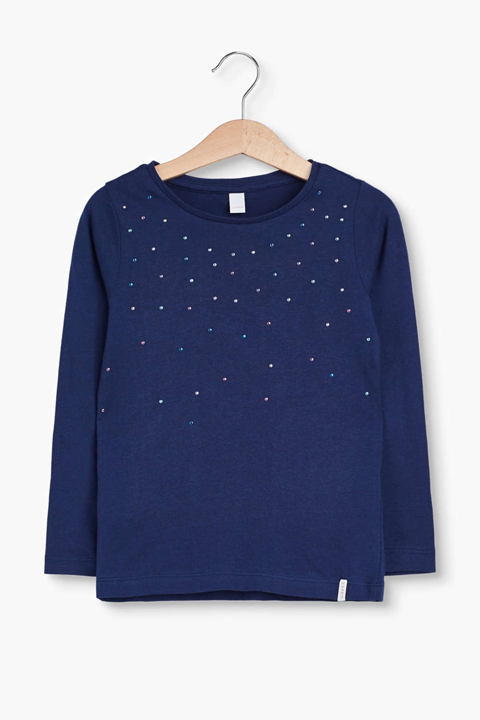 Colourful studs on the front give this long sleeve top its exceptionally shiny look.
