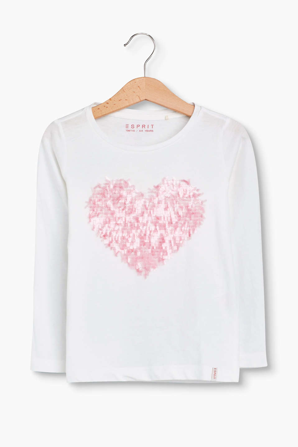 Gorgeously glittery! The appliquéd heart in dazzling little rod sequins transforms this tee into a trendy head-turner.