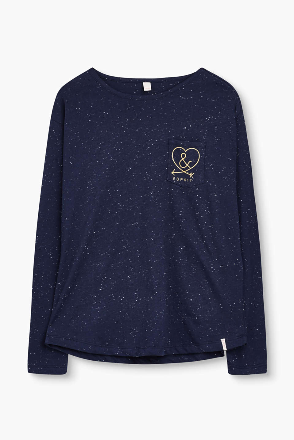 The glittering print on the breast pocket and bobbly texture give this long sleeve tee its mega trendy look.