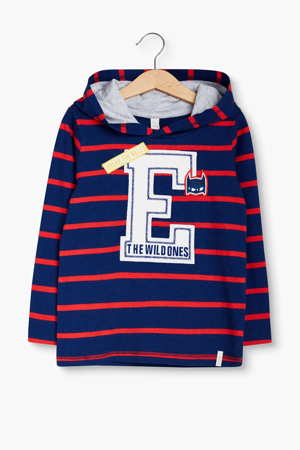 Cool stripes for little superheroes: Hooded long sleeve top with appliqués, 100% cotton