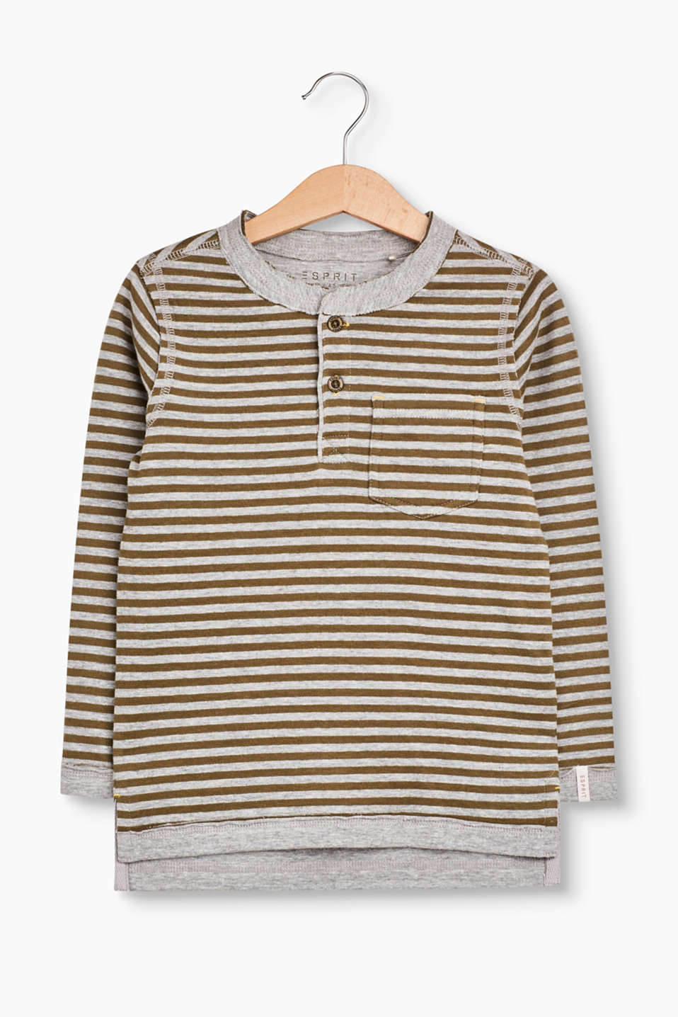 It is easy to simply put something on and look cool with this striped long sleeve top in double-layered blended cotton!