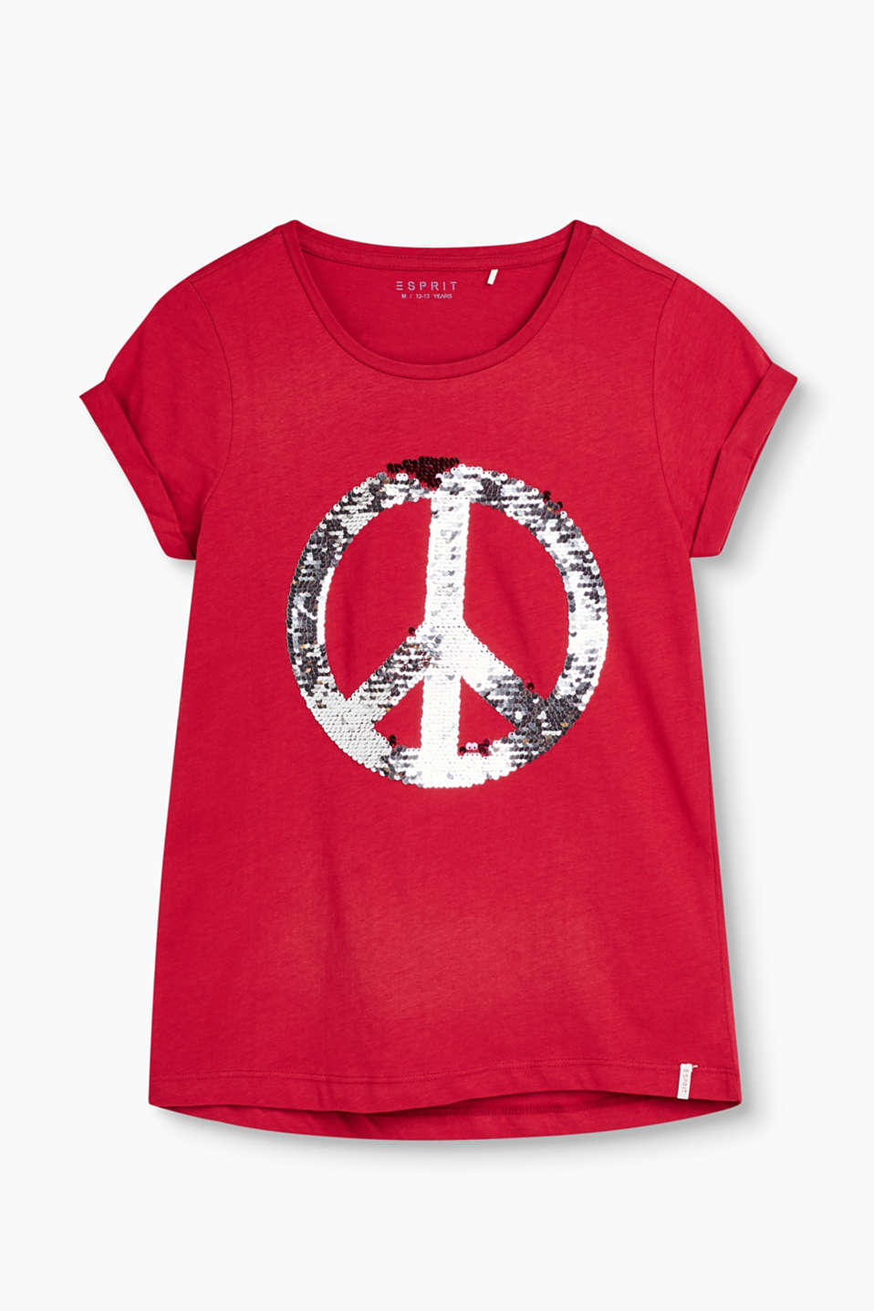 PEACE! T-shirt with a shiny sequin appliqué, in 100% cotton