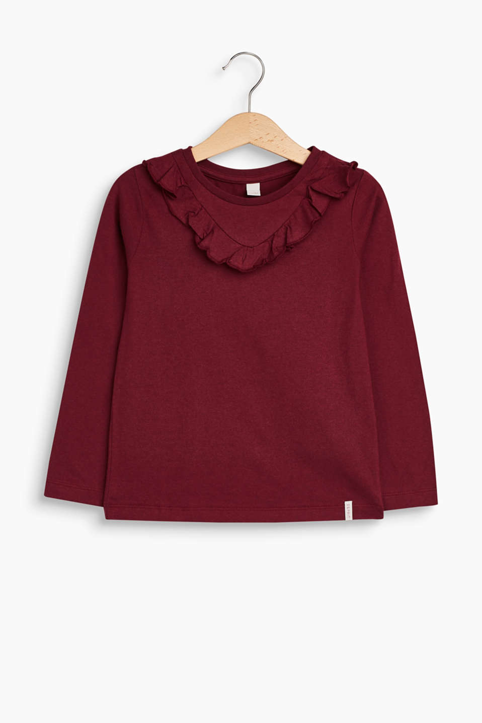 Great basic with a pretty note: melange long sleeve top with a flounce border on the neckline.