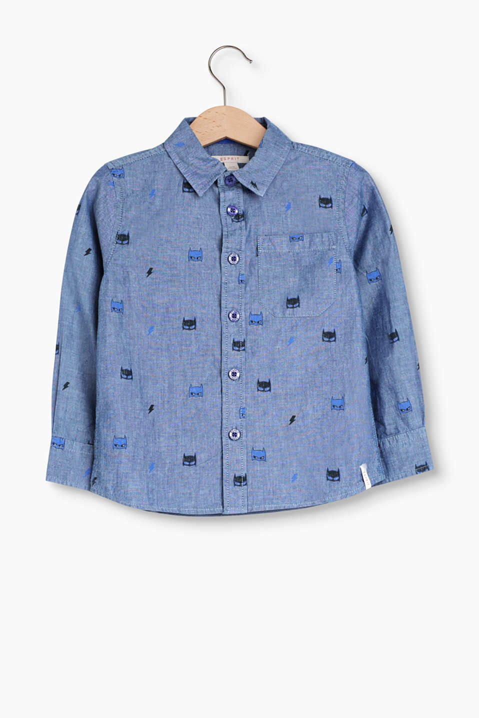 Smart look for little superheroes: Chambray shirt with an all-over print in 100% cotton