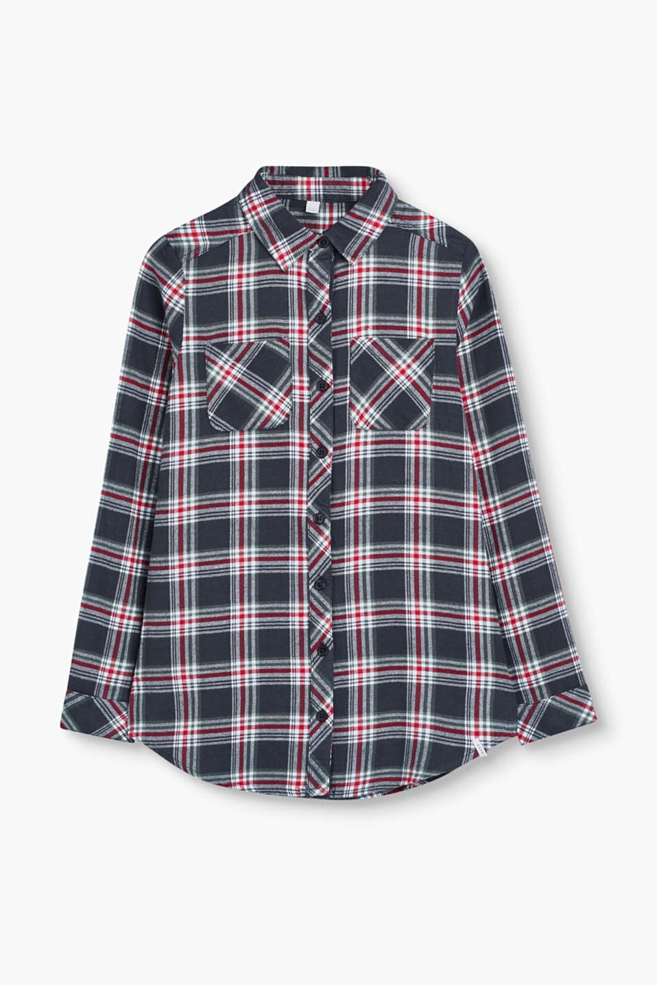 This check shirt blouse is perfect for the winter thanks to the slightly insulating soft cotton flannel fabric.