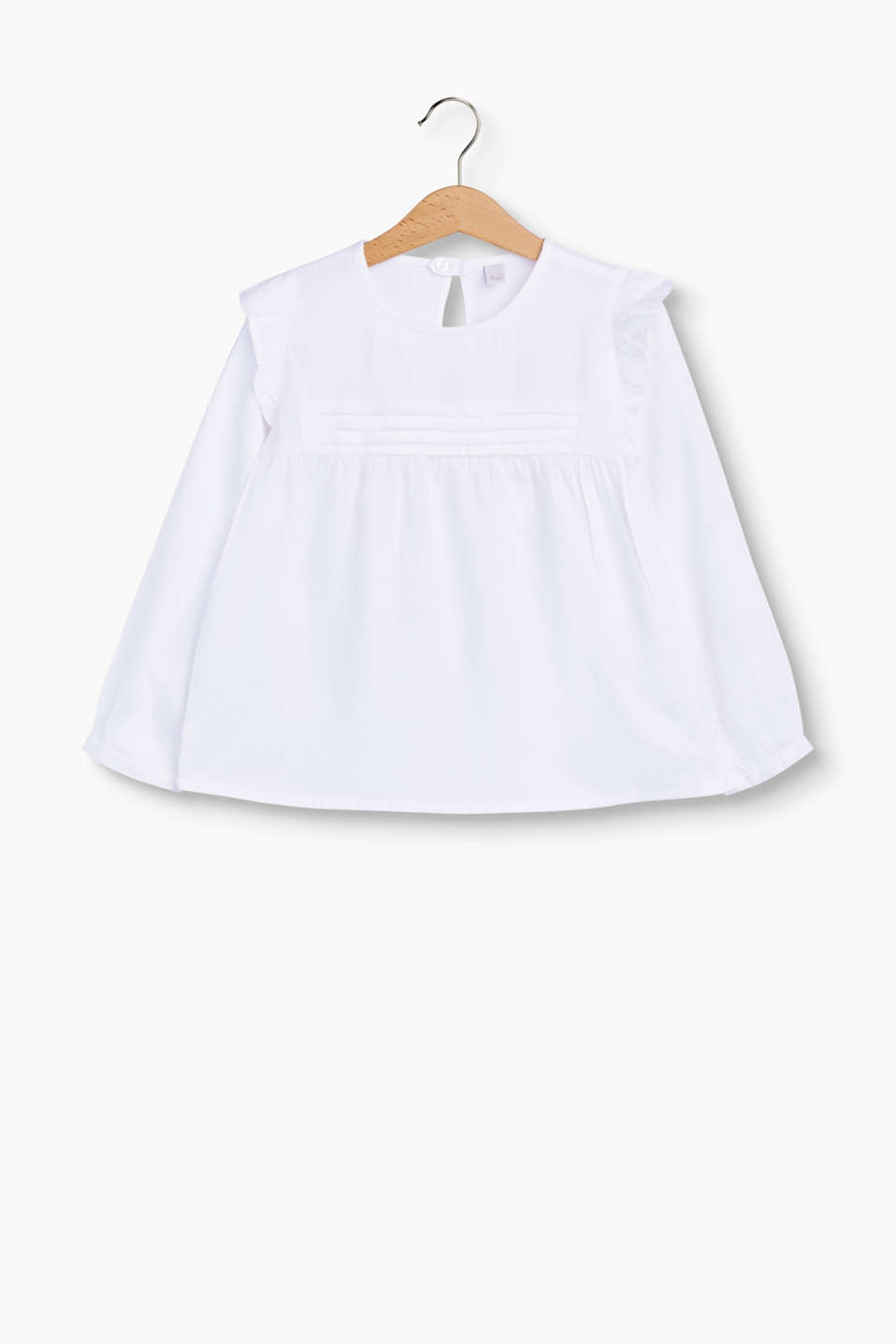Looking good! A-line blouse embellished with pintucks and pretty frills, made of softly draped material.
