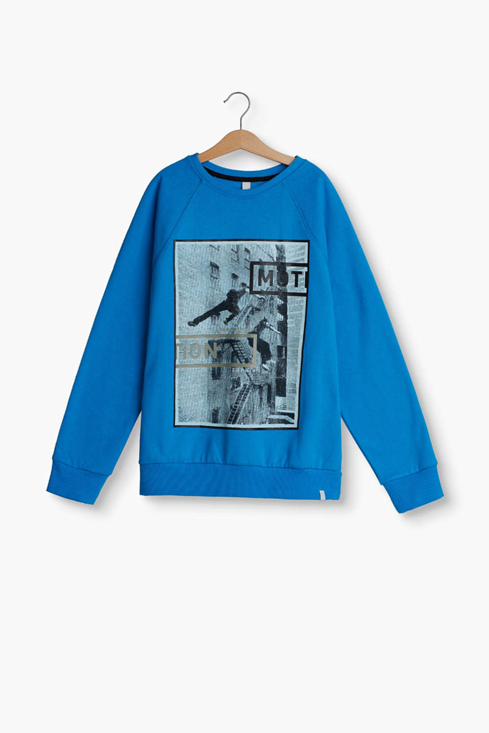 With a cool parkour print in a photo style: pure cotton sweatshirt