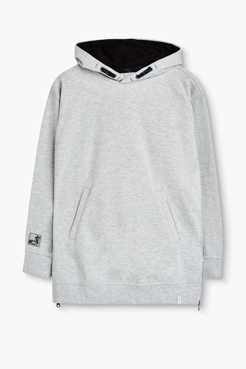 Long melange sweatshirt with a sporty hood and side hem zips