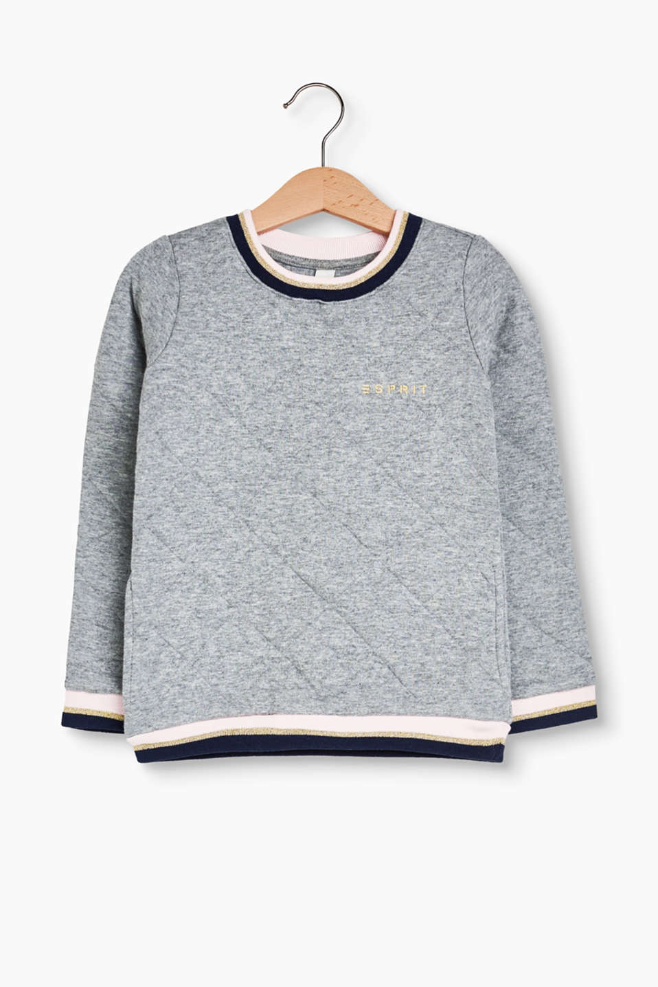 Soft, cotton blend sweatshirt + metallic, embroidered logo, diamond topstitching, slit pockets and ribbed borders