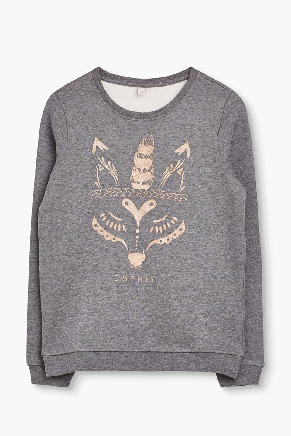 This pleasantly soft cotton sweatshirt is defined by its large glitter print on the front