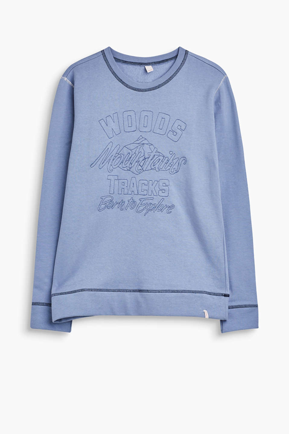 Pull it on, feel good and look cool: soft cotton sweatshirt with embroidered art work in front.
