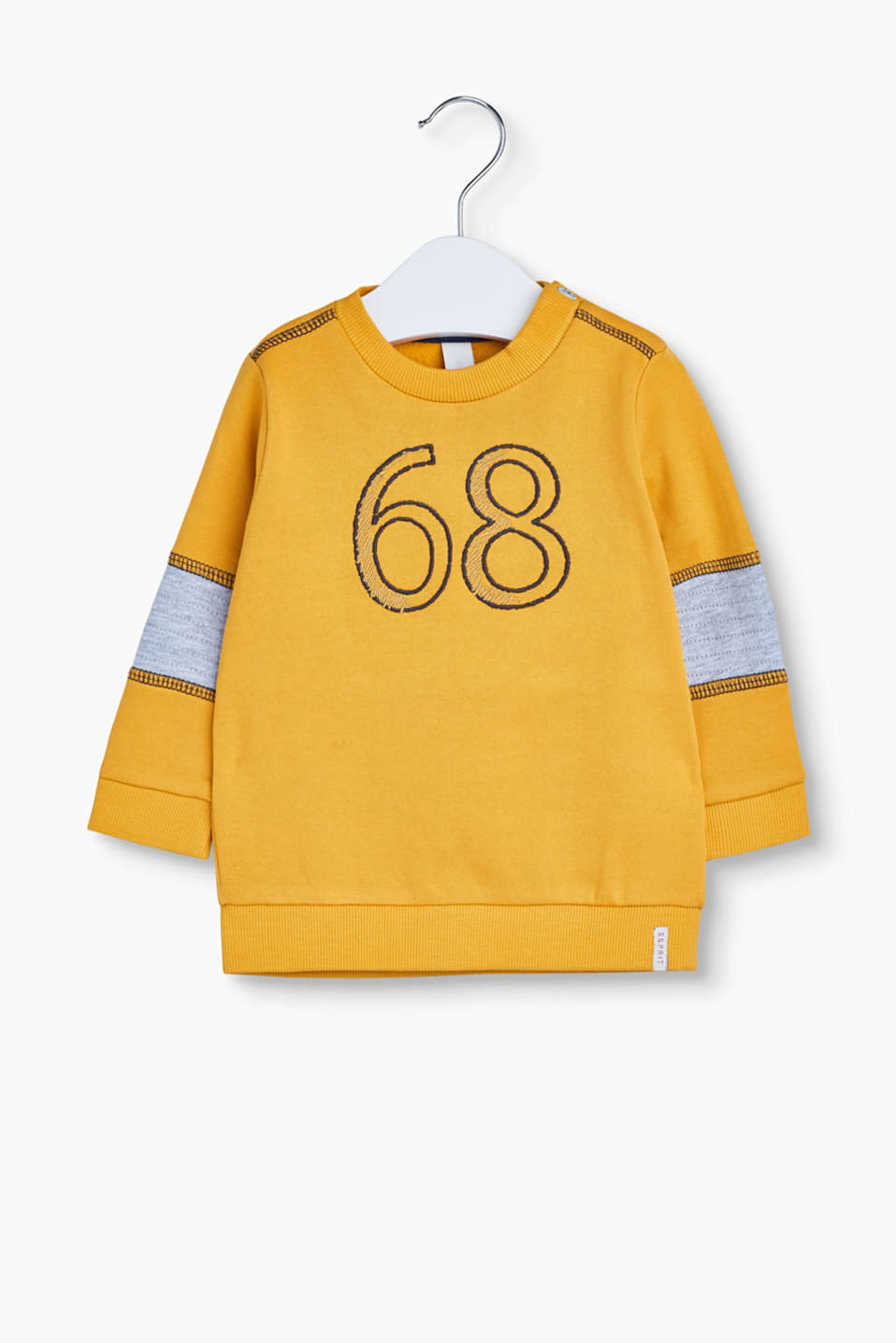 Big college style for little ones! The embroidered 68 on this soft cotton sweatshirt catches the eye.