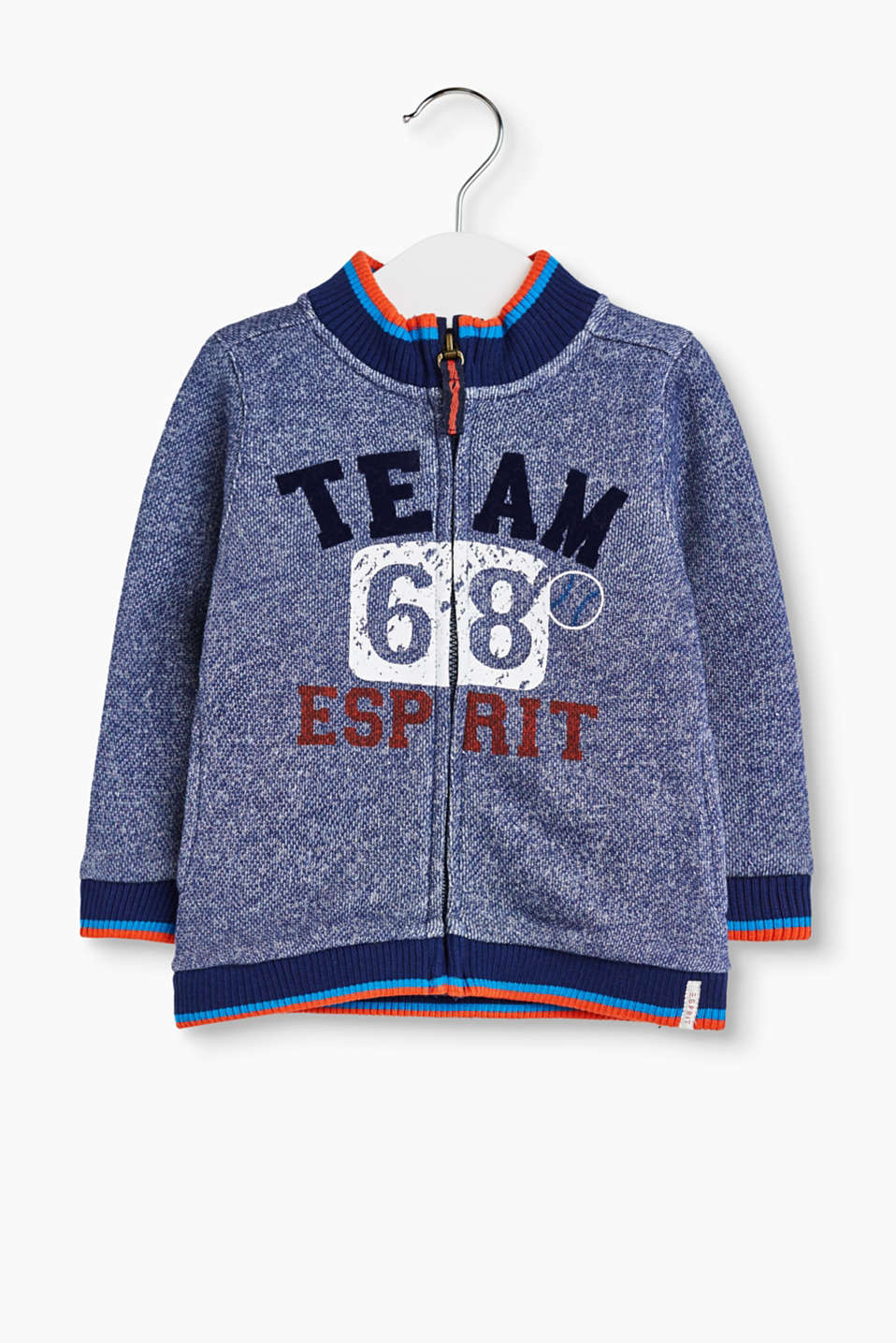 Team Esprit: melange sweatshirt cardigan in soft cotton