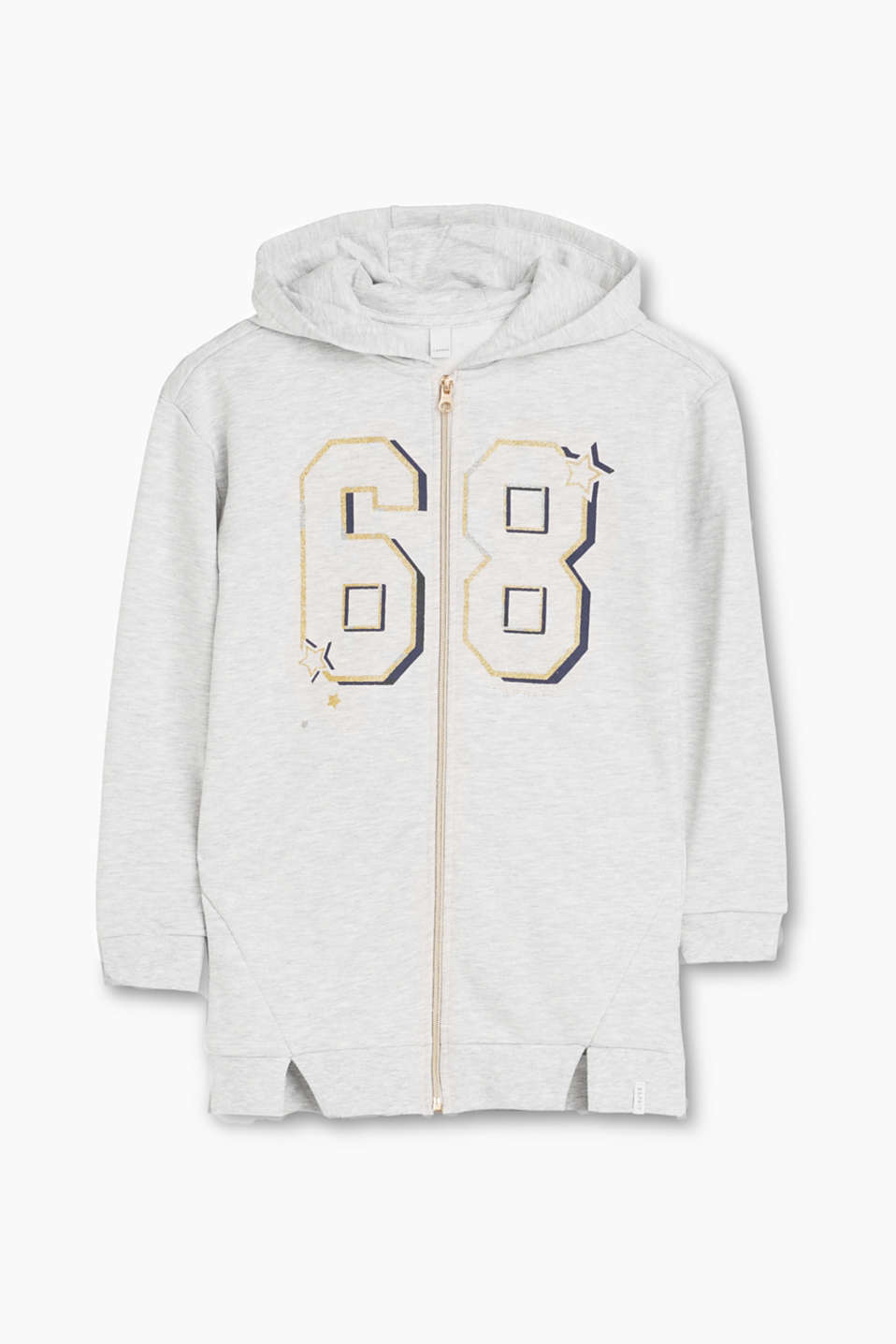 With that certain touch of girliness: hooded sweatshirt jacket with sparkly printed numbers and a gold metal zip