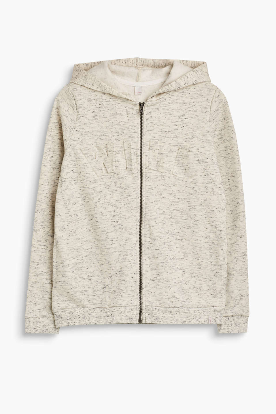 Go wild! This melange hooded sweatshirt with a fluffy inner surface is just the thing for wild explorers.