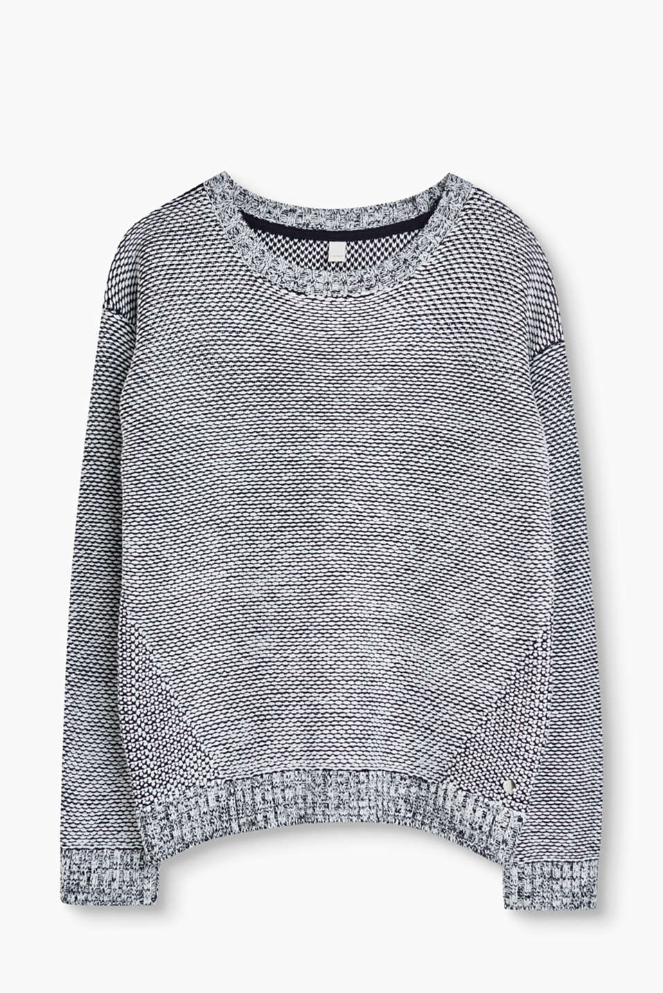 In a two-tone look: soft jumper with a honeycomb texture, cotton blend