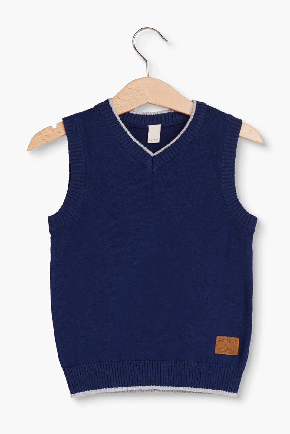 This soft knit vest in comfortable pure cotton is a great basic piece for between the seasons and for winter