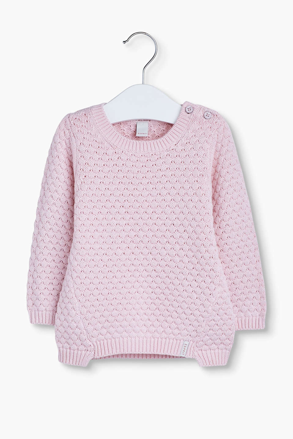 Soft basic jumper: Cute cotton jumper in a chunky knit pattern with ribbed cuffs.