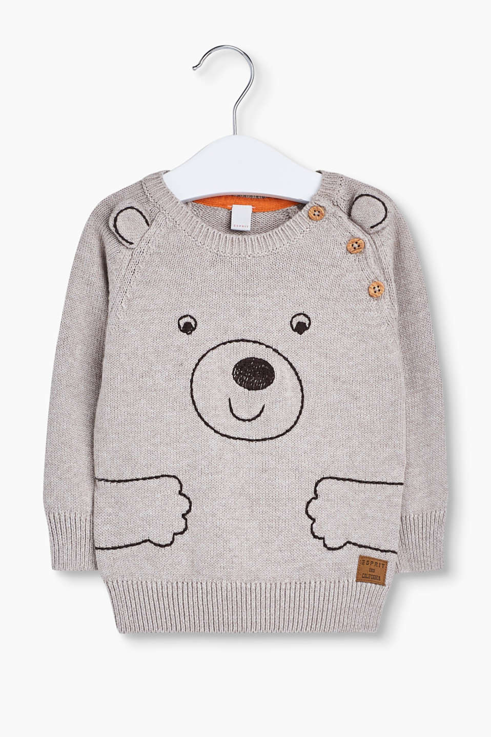 This cotton jumper with a sweet bear embroidery and appliquéd little ears is a real favourite.