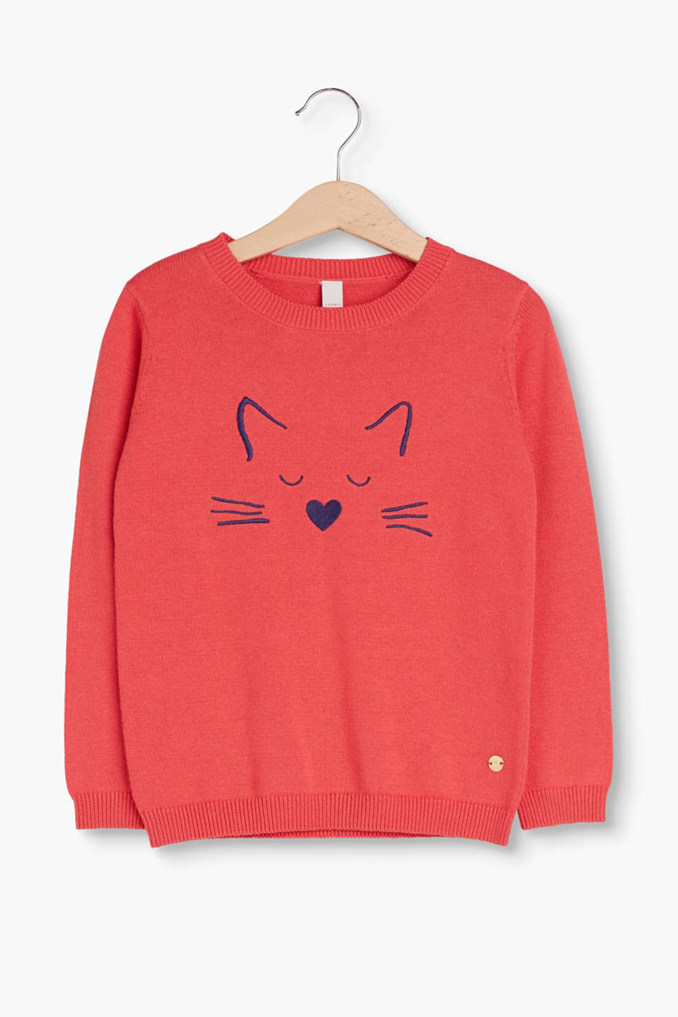 Soft round-neck jumper in pure cotton with a cute cat face