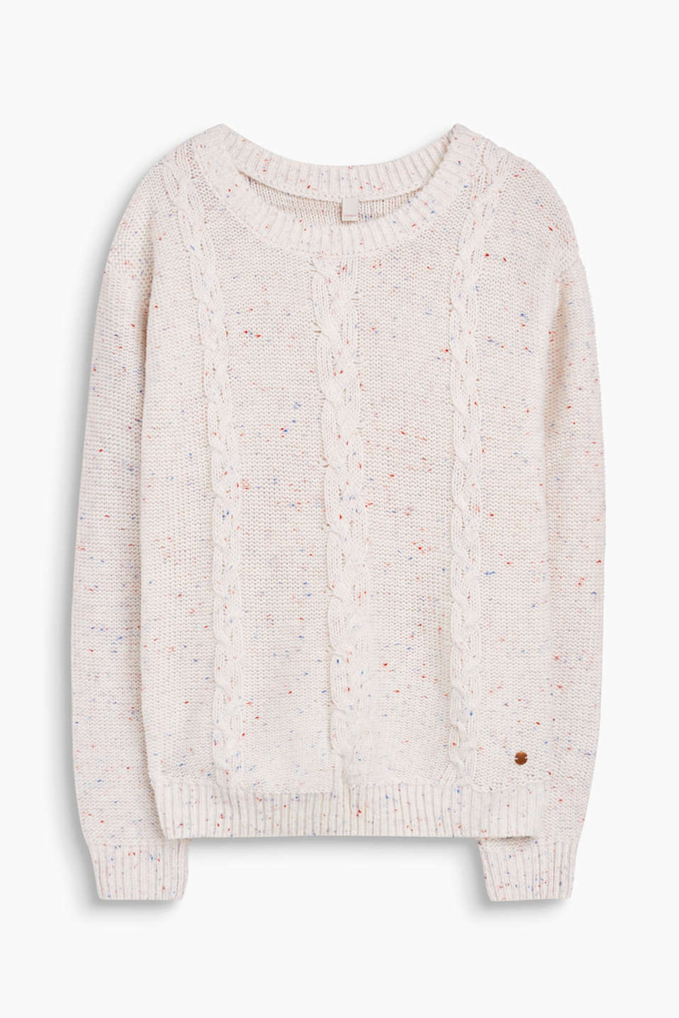 Cuddly fave with a brand new twist: jumper with a cable pattern and stunning bobbles.