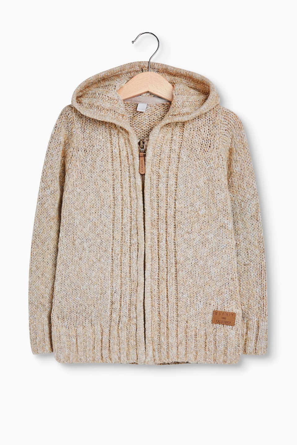 Soft, cuddly fave: melange knitted cardigan with a hood and faux leather elbow patches.
