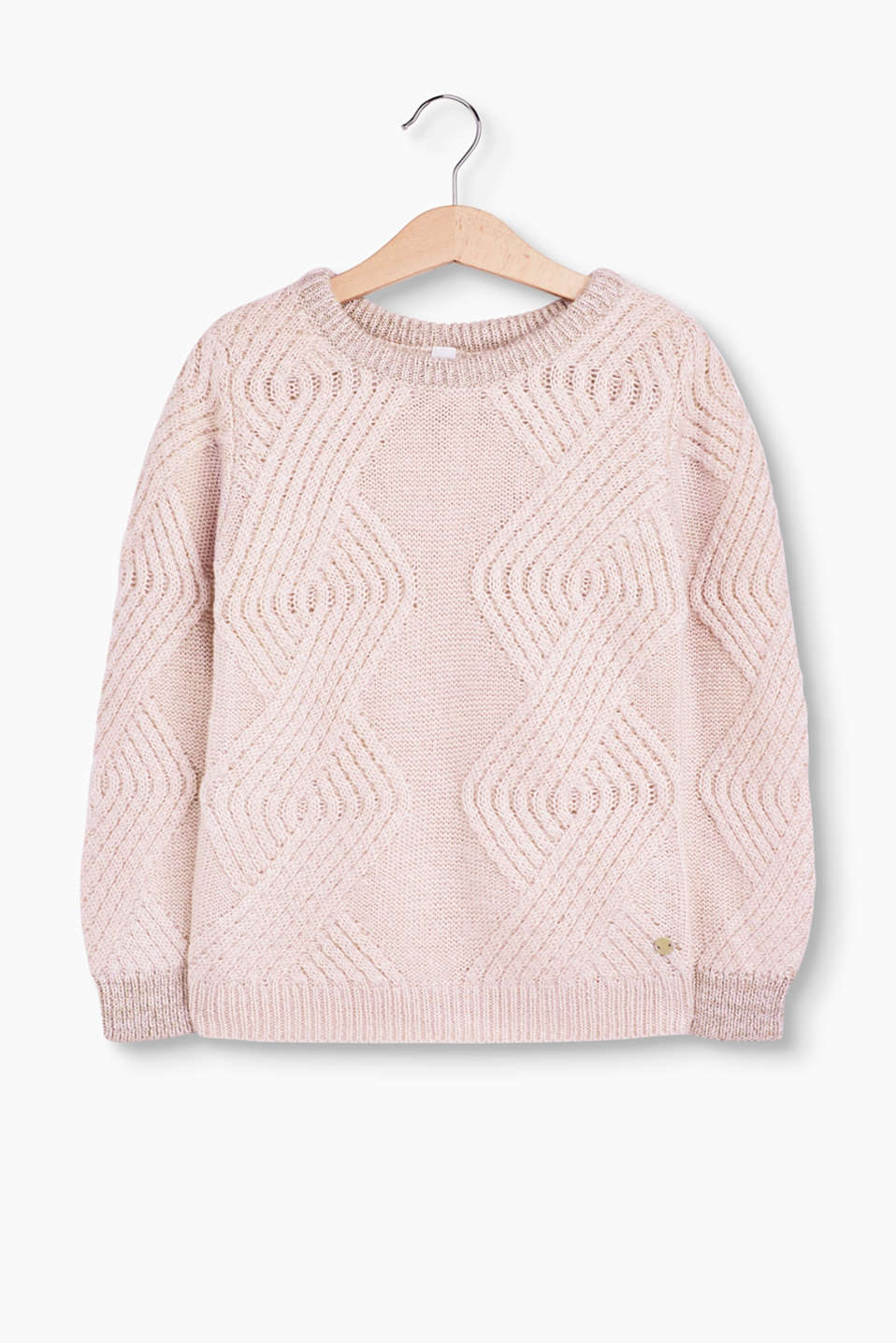 This jumper is super-pretty and warm at the same time with its cable pattern and tonal lurex shimmer on the edges.