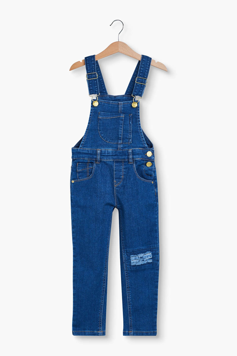 A must-have piece for casual girls: Stretch denim dungarees with ripped effects and gold tone logo buttons