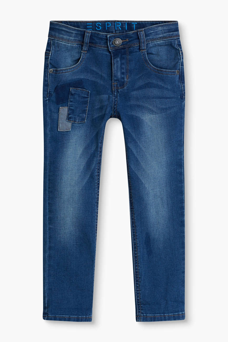 Jeans in a casual garment wash with an adjustable waistband, in a patchwork look