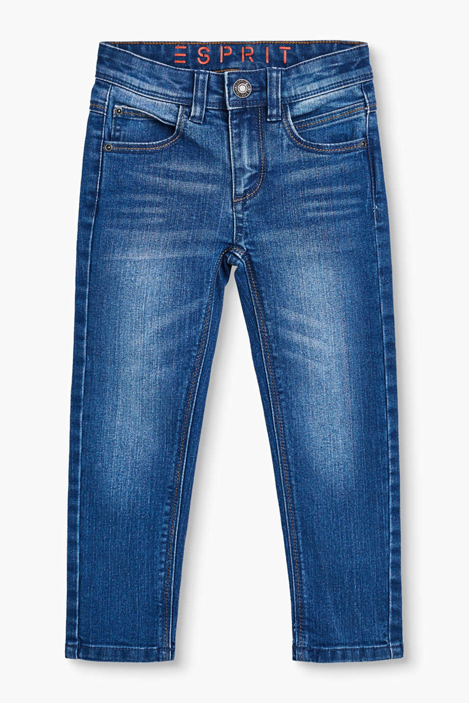 Stretch jeans in a five-pocket style with an adjustable waistband