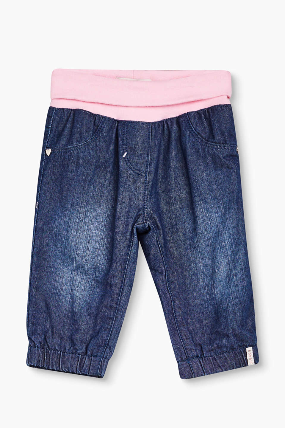 These soft cotton jeans are perfect for active little baby girls thanks to the snug ribbed waistband.