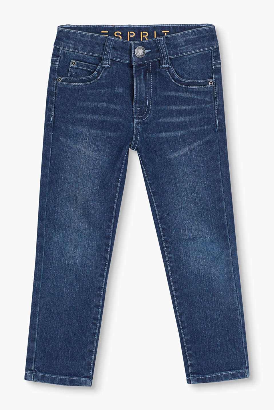 These 5 pocket jeans in soft stretch denim in blended cotton and with a practical adjustable waistband are mega comfy.