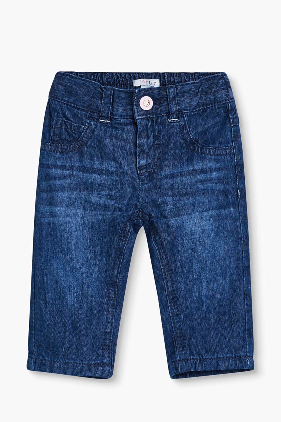 Super comfy + super cute! The elasticated waistband and inner lining make these soft, 100% cotton jeans really special.