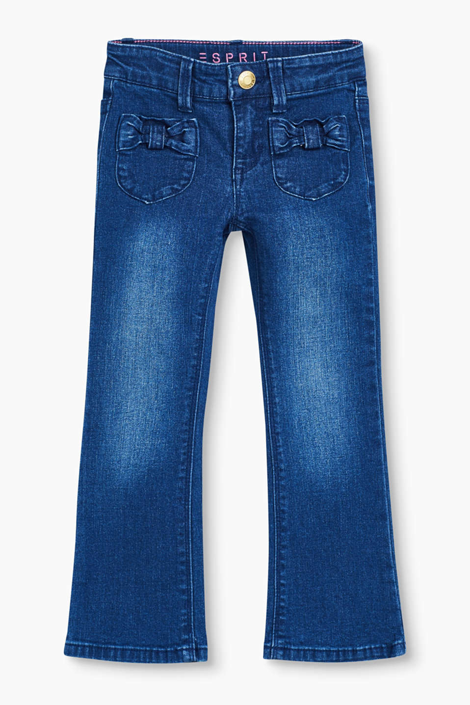 Decorated with beautiful little bows and fitted with a comfortable adjustable waistband: stretch denim bootcut jeans.