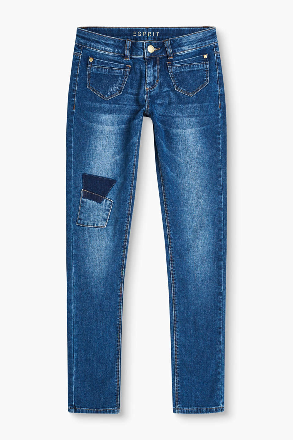 Jeans in blended cotton denim with added stretch featuring patch pockets at the front and back