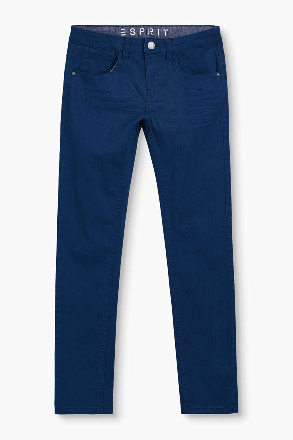 These clean, solid-dyed denim jeans in a classic five-pocket style are a great basic piece.