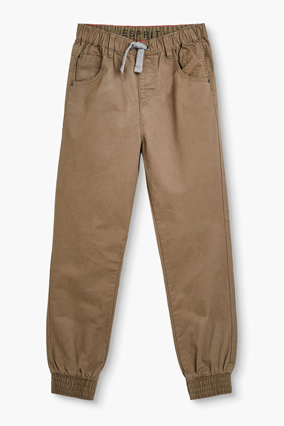 Casual, cool cotton trousers with elasticated waistband and hems and added stretch for comfort