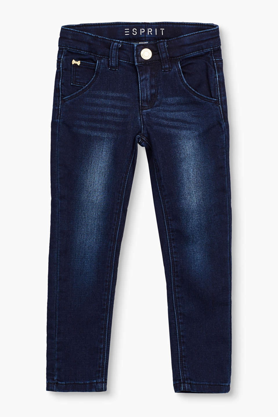 These basic dark wash jeans are perfect for slim kids and come in a stretchy design