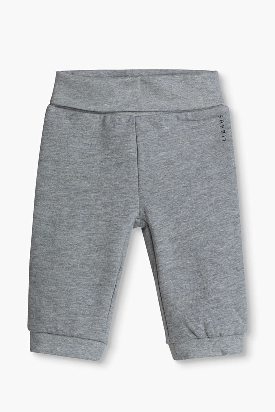 Basic tracksuit bottoms in soft cotton with a high, turn-down waistband